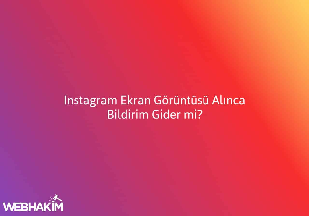 instagram ekran görüntüsü alınca bildirim gidiyor mu