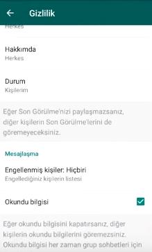 WhatsApp Okundu Bilgisi Gizleme ve Görüldü İşateri Kapatma