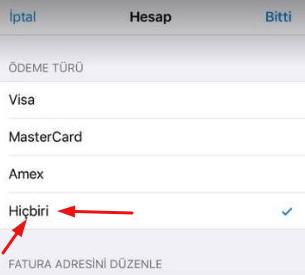 itunes kredi kartı bilgileri silme