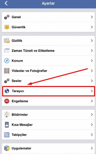 facebook tarayıcı geçmişini silme ve önbellek temizleme
