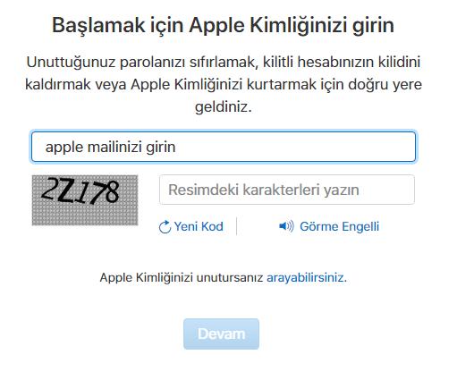 Apple Kimliğimi Unuttum Telefon Açılmıyor