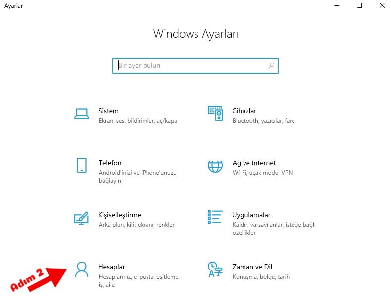 windows 10 parola koyma