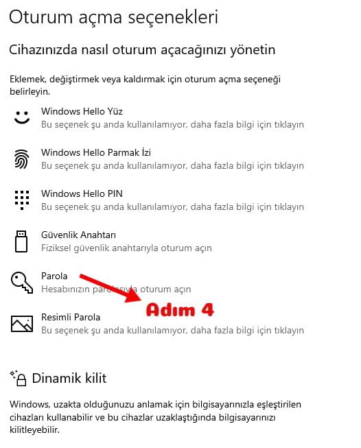 Windows 10 Şifre Koyma
