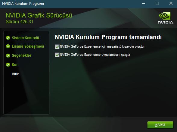 Ekran Kartı Güncelleme Nvidia