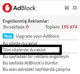 Adblock Nasıl Kapatılır