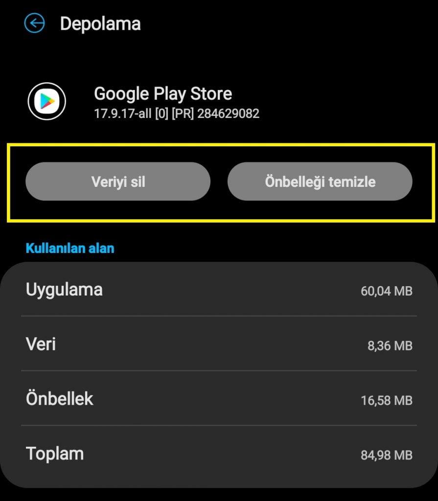 Google Playdan uygulama inmiyor