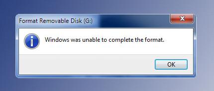 Windows biçimlendirmeyi bitiremedi