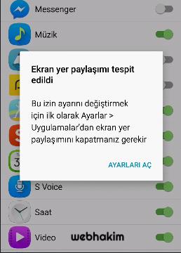 ekran yer paylaşimi kapatma webhakim