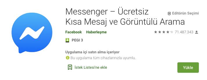 facebook messenger görüntülü konuşma indir