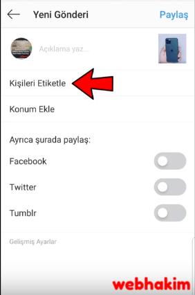 instagram etiketleme sorunu webhakim