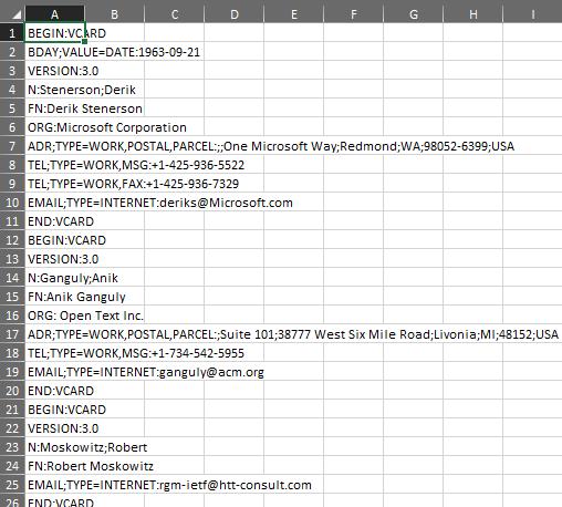 VCF Dosyası Açma