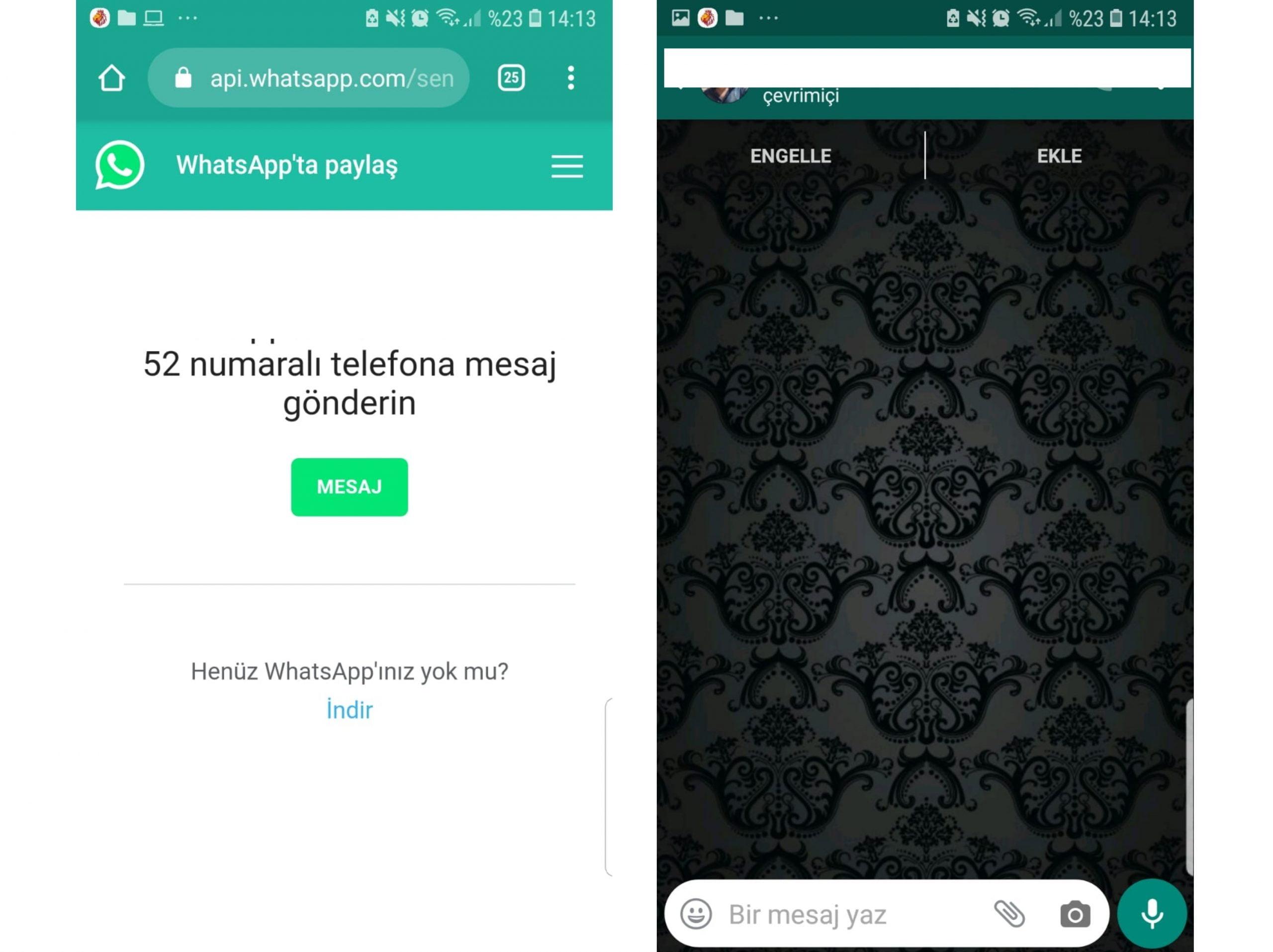 whatsapp numara kaydetmeden mesaj atma