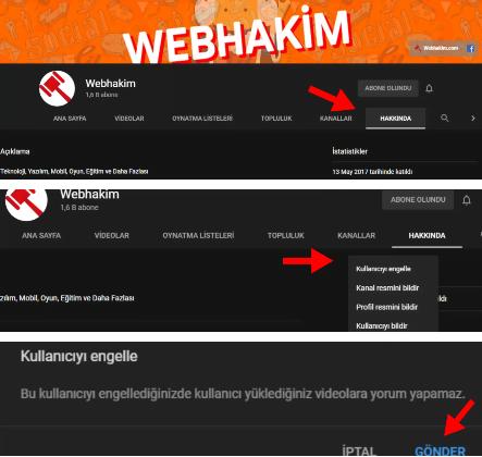 youtube kanal engelleme webhakim