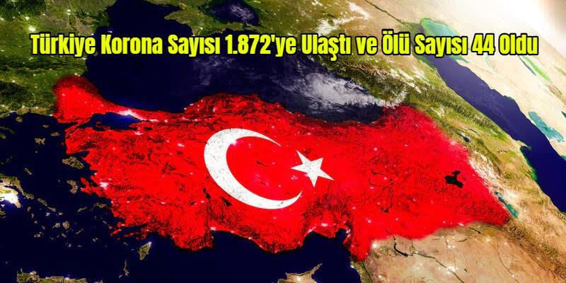 Türkiye Korona Sayısı 1.872'ye Ulaştı ve Ölü Sayısı 44 Oldu