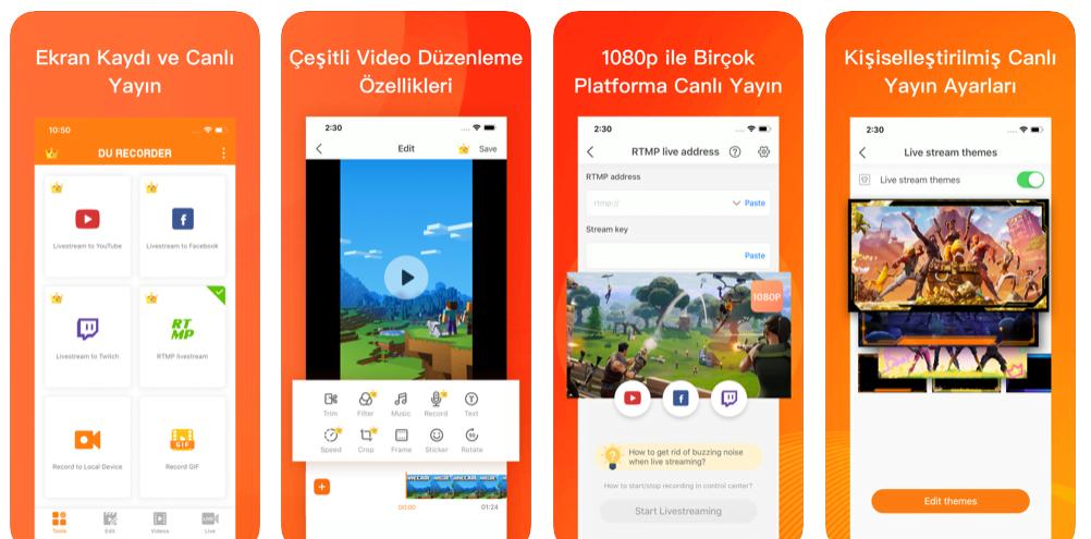 ekran kaydetme uygulamasi iphone
