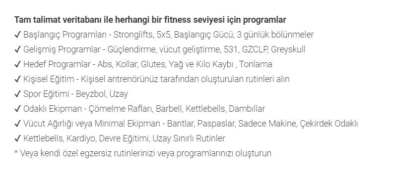 fitness programi uygulamasi