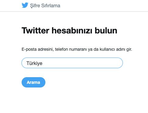 twitter şifre sifirlama