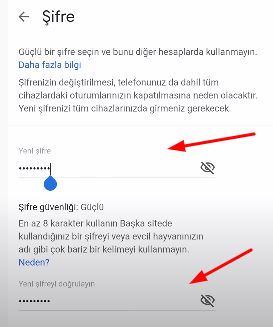 gmail sifre degistirme ios
