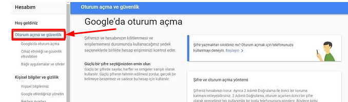 gmail sifre degistirme nasil