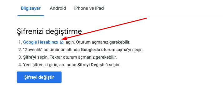 gmail sifre degistirme pc