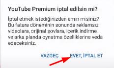 youtube premium iptal etme