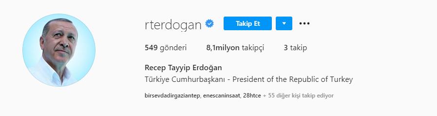 erdogan instagram takipci sayisi