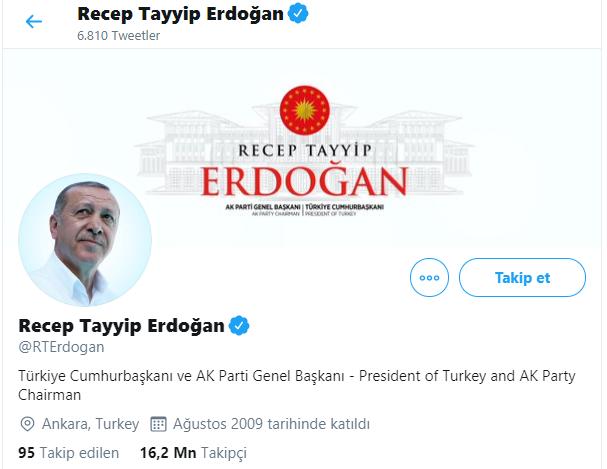 erdogan twitter takipci sayisi
