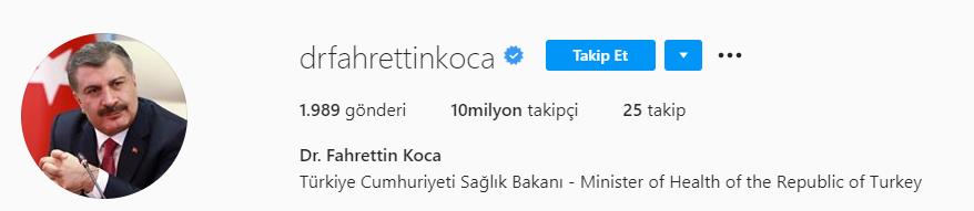 fahrettin koca instagram takipci sayisi