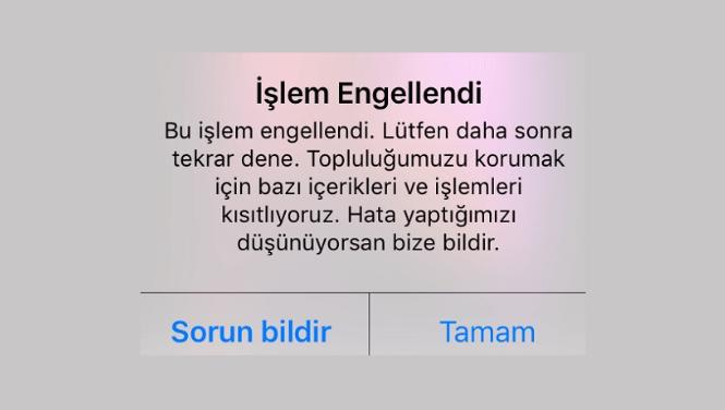 Instagram islem Engellendi