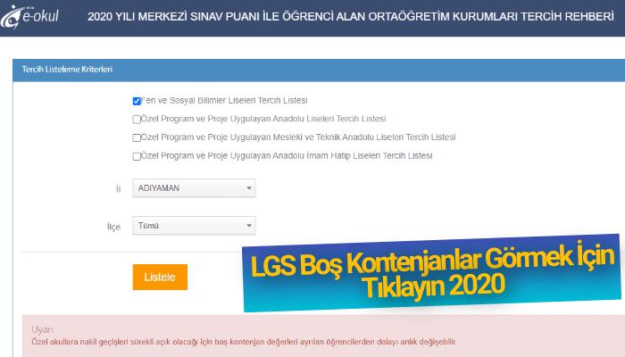 LGS Boş Kontenjanlar 2020