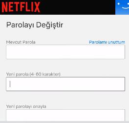 netflix şifre değiştirme