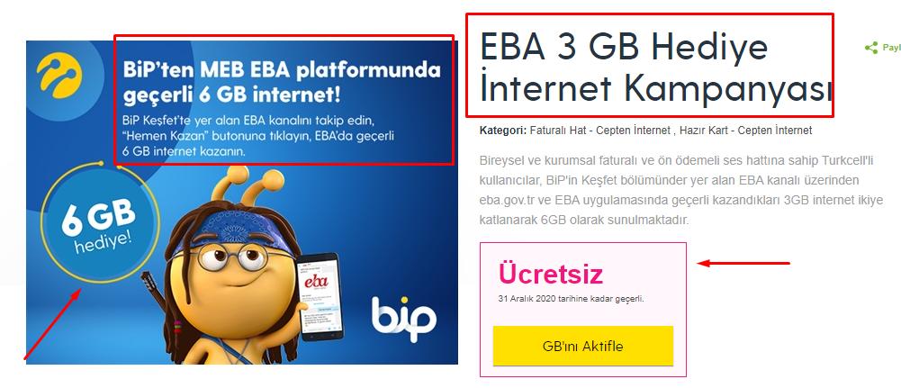 EBA Bedava Internet Nasil Alinir Turkcell