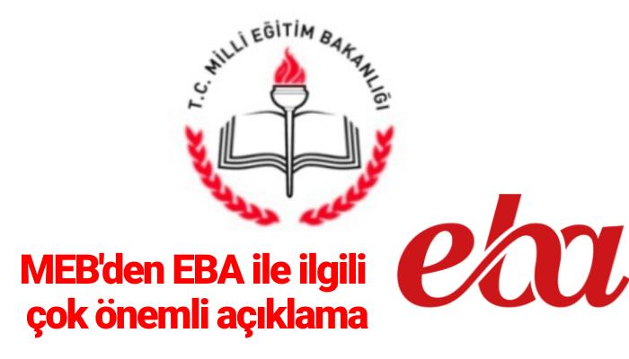 MEB'den EBA ile ilgili çok önemli açıklama