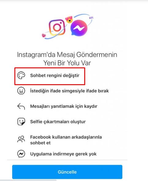 Instagram Sohbet Rengi Degistirme