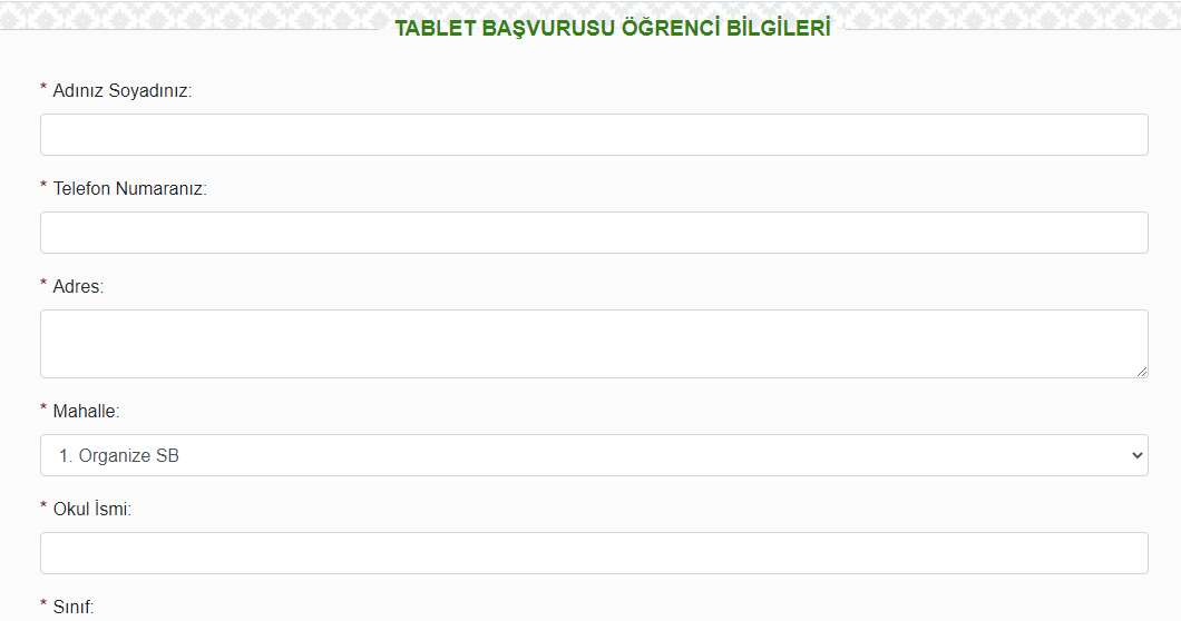 Ucretsiz tablet basvurusu Yesilyuirt