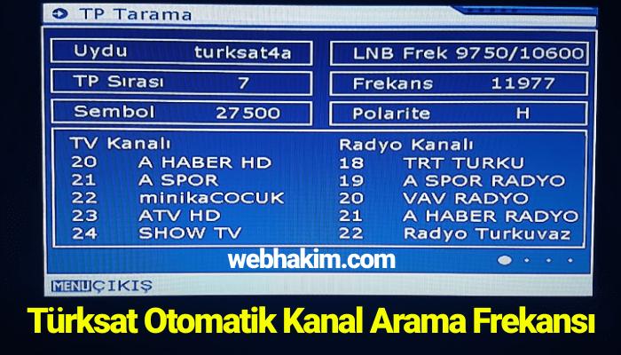 Türksat Otomatik Kanal Arama Frekansı