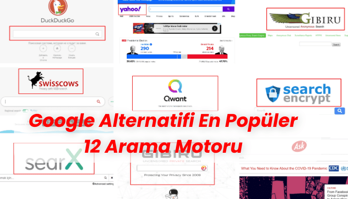 Google Alternatifi Arama Motorlari