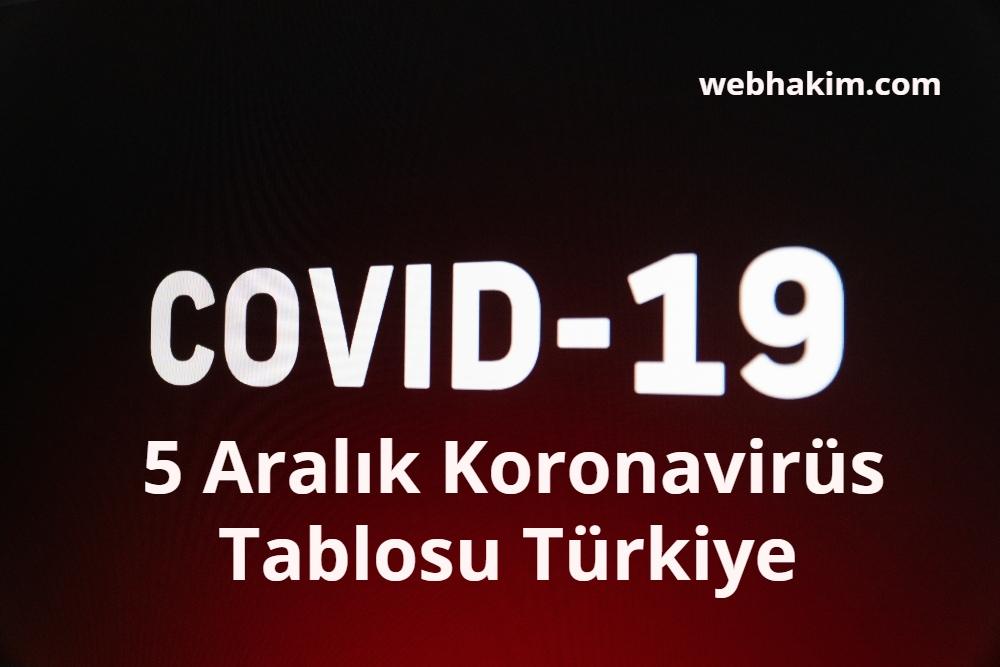 5 Aralik Koronavirus Tablosu