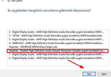 bilgisayardan ses gelmiyor ne yapmaliyim