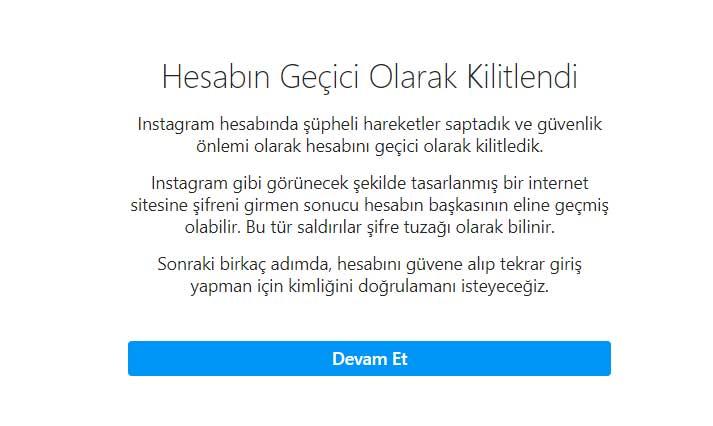 Instagram Hesabin Gecici Olarak Kilitlendi Hatasi Cozumu