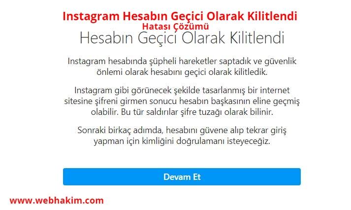 Instagram Hesabin Gecici Olarak Kilitlendi